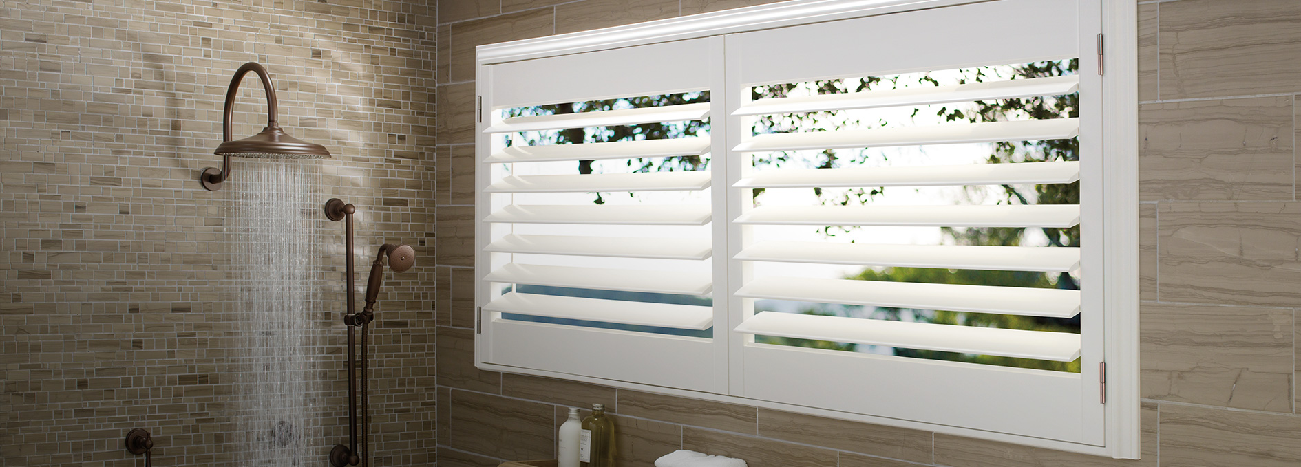 Bathroom window treatments blinds for the bathroom for Window design solutions