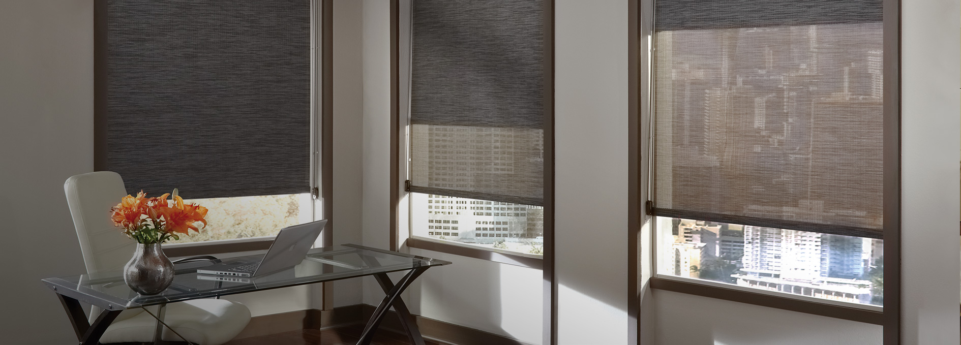 Home office window treatments today 39 s window fashions for Window design solutions